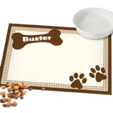 Personalised Dog Gifts: Brown Paws Dog Placemat